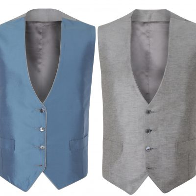 Peregrine Jude Ultmate Grey Blue Silk Wedding Waistcoat