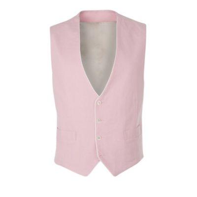 Peregrine Jude Pink Linen Reversible Wedding Waistcoat