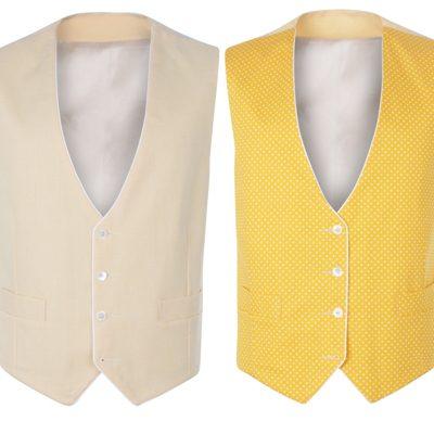 Peregrine Jude Wedding Waistcoat Yellow Linen Reversible