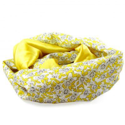 Liberty print silk infinity scarf yellow peregrine jude
