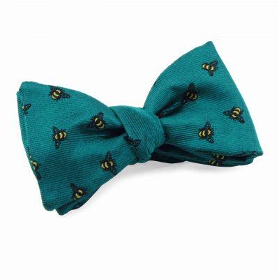 jade green silk bow tie bee