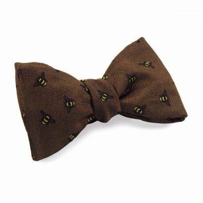 Silk bow tie ochre bees