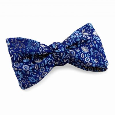 Blue Silk Flower Floral Bow tie