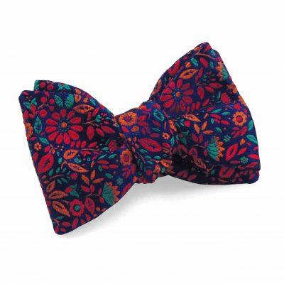 Navy red flower floral silk bow tie