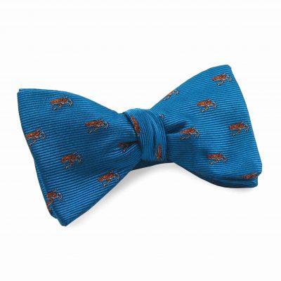 Silk Bow Tie Azure Blue Orange Frogs
