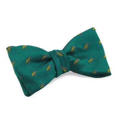 Silk bow tie frog green