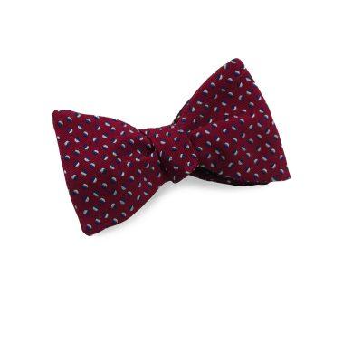 Burgundy silk bow tie