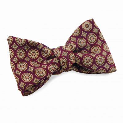 Burgundy Gold Silk Bow Tie