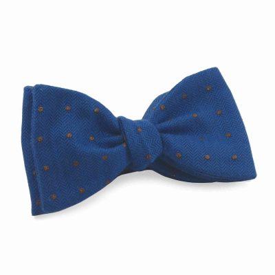 silk Wool Bow Tie Blue Spots