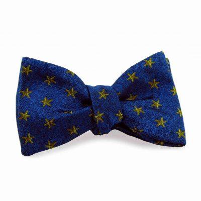 Blue silk bow tie yellow starfish