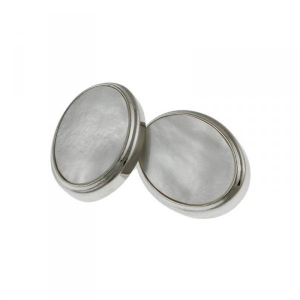 Rhodium MOP Chain Cufflinks