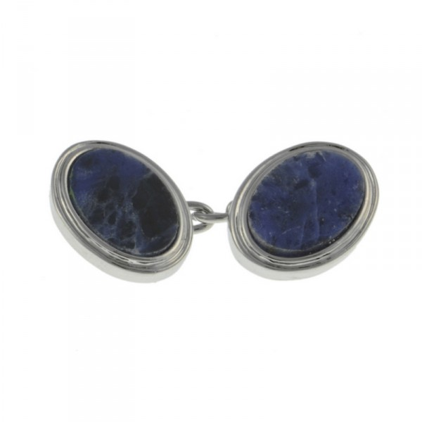 Rhodium Sodalite Chain Cufflinks